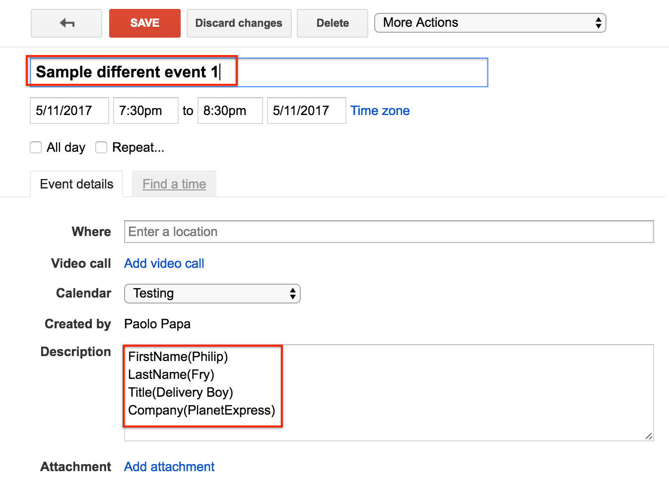 Create Google Calendar Event