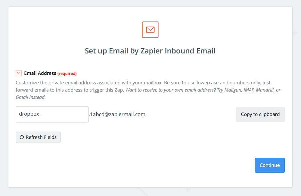 Zapier Custom Email Address