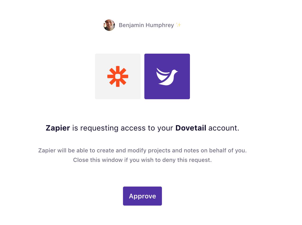 Authorize  Dovetail on Zapier