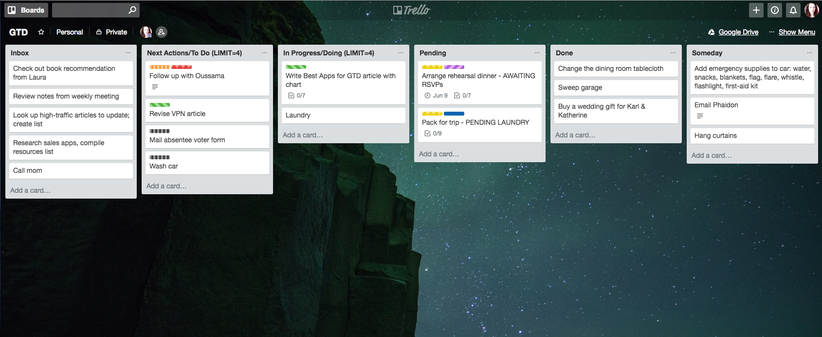 Pared down sample board of Trello for GTD
