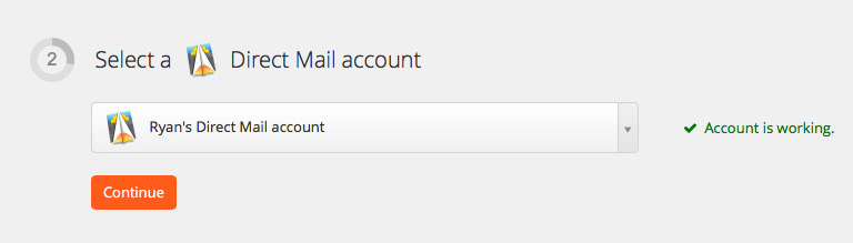 Direct Mail account connected to Zapier