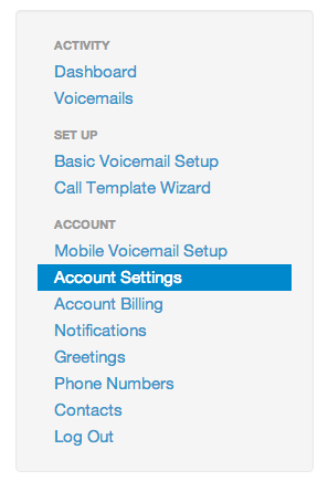 BetterVoicemail Account Settings