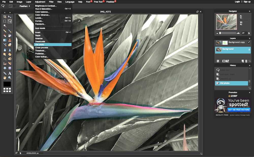 Pixlr photo editor screenshot