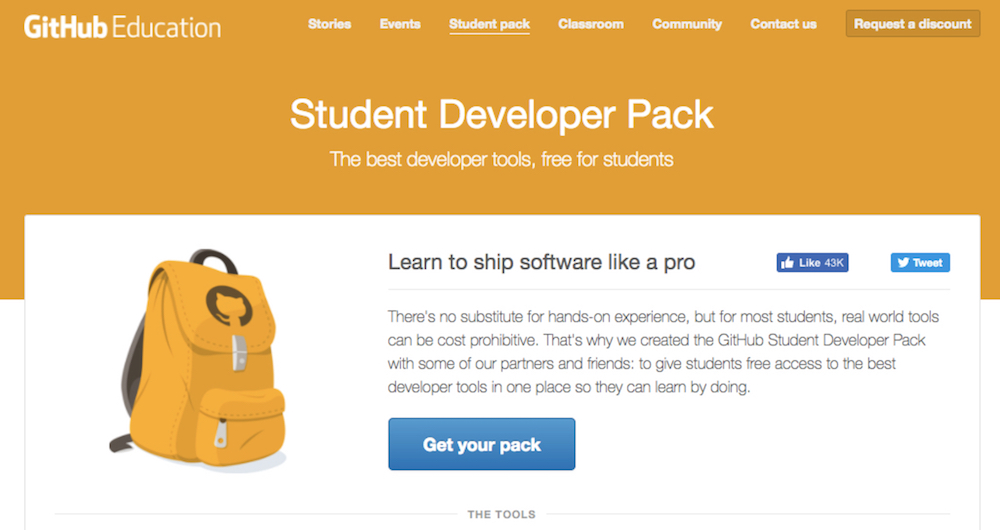 GitHub Student Developer Pack offers students discounts on key developing resources and coding education