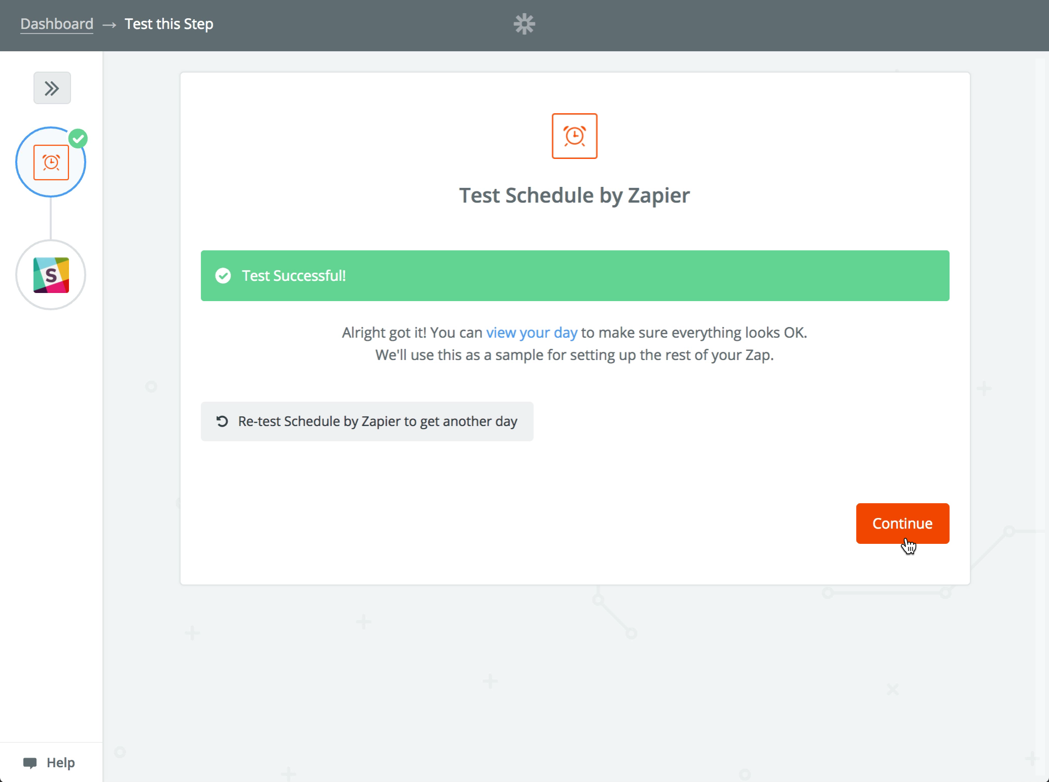Test the 'Schedule by Zapier' step
