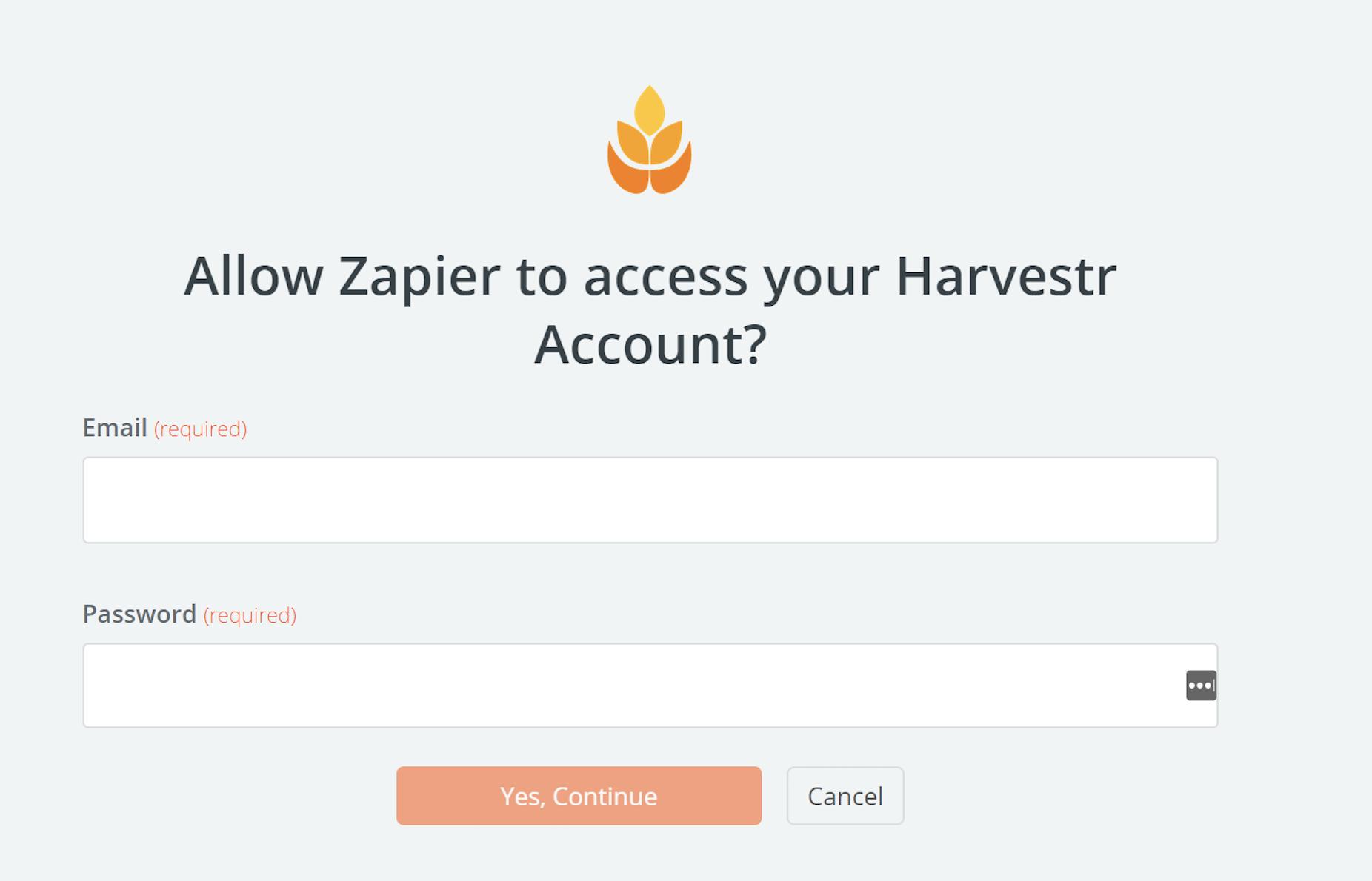 Harvestr username and password