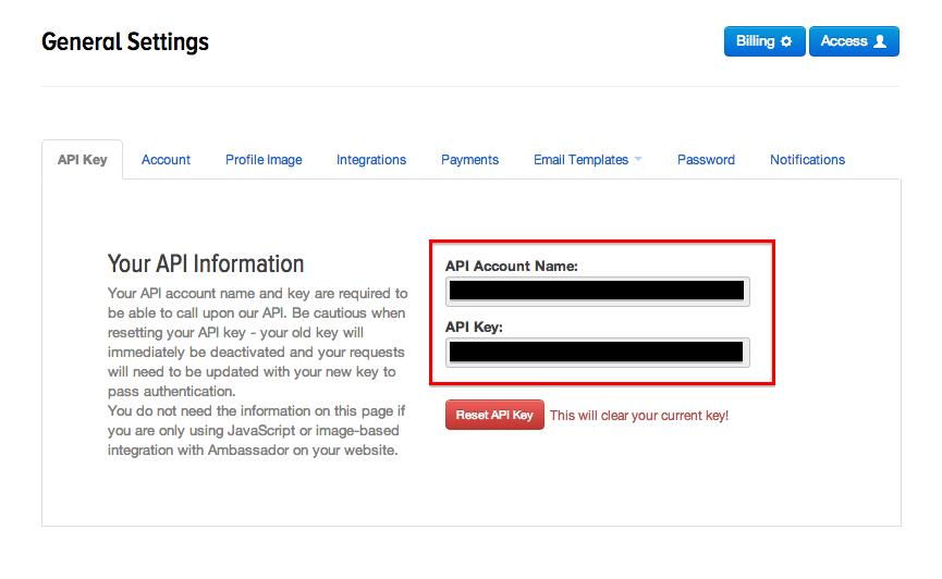 Grab your Ambassador API Key