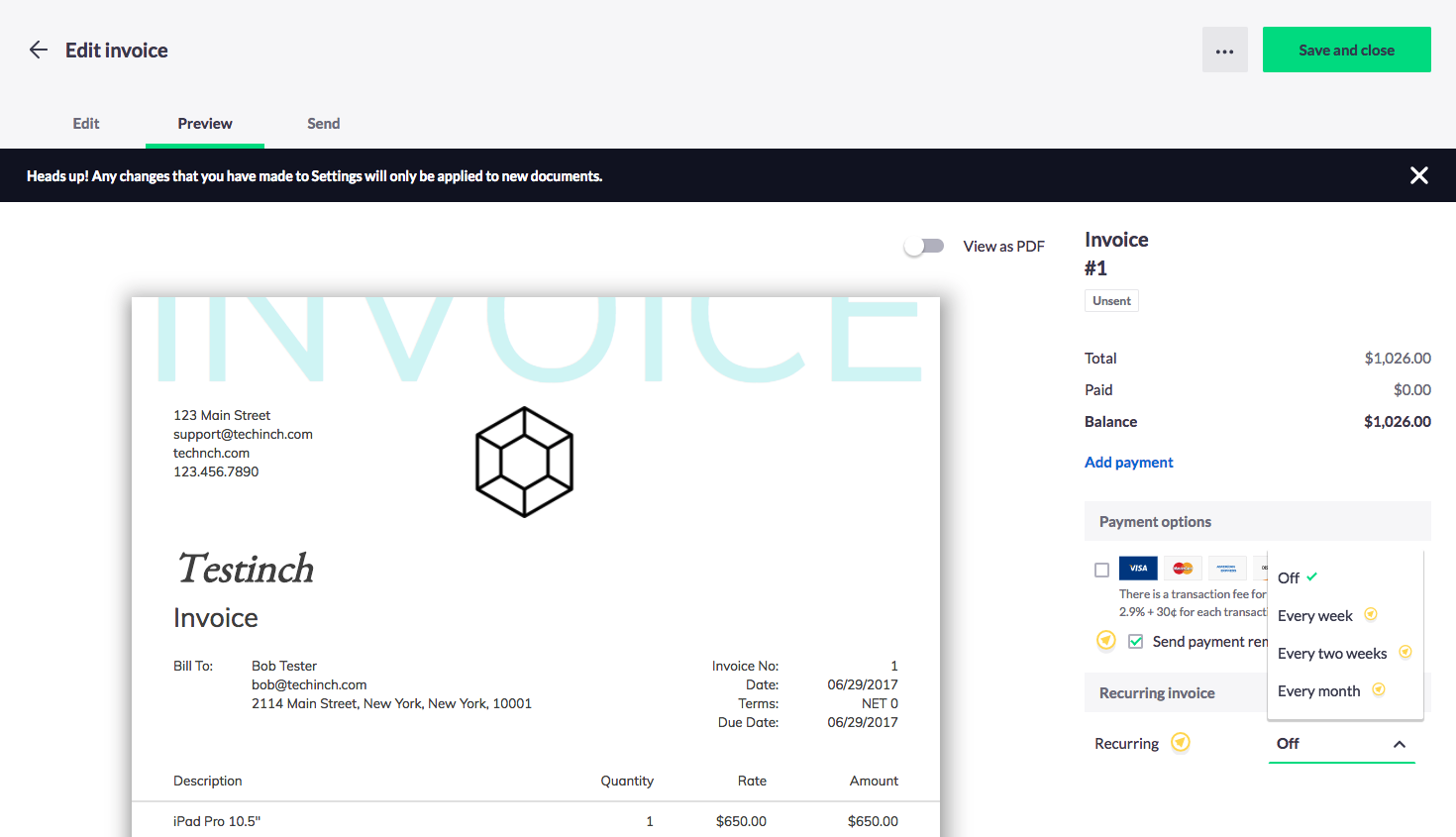 Invoice2go Screenshot