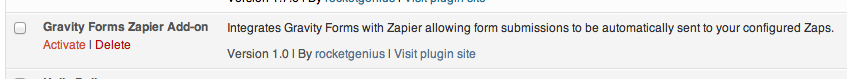 Activate Zapier Gravity Forms