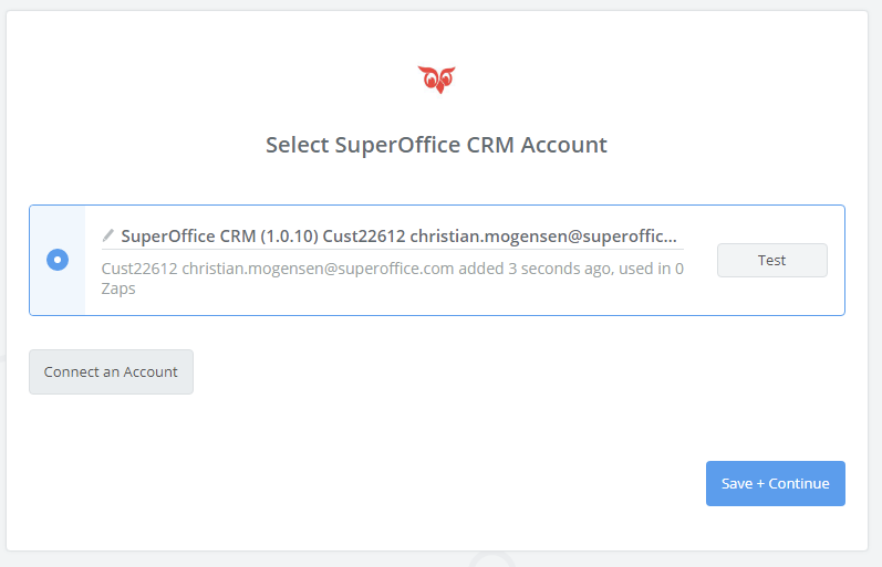 SuperOffice CRM connection successfull