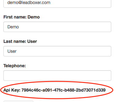 LeadBoxer API Key in LeadBoxer account