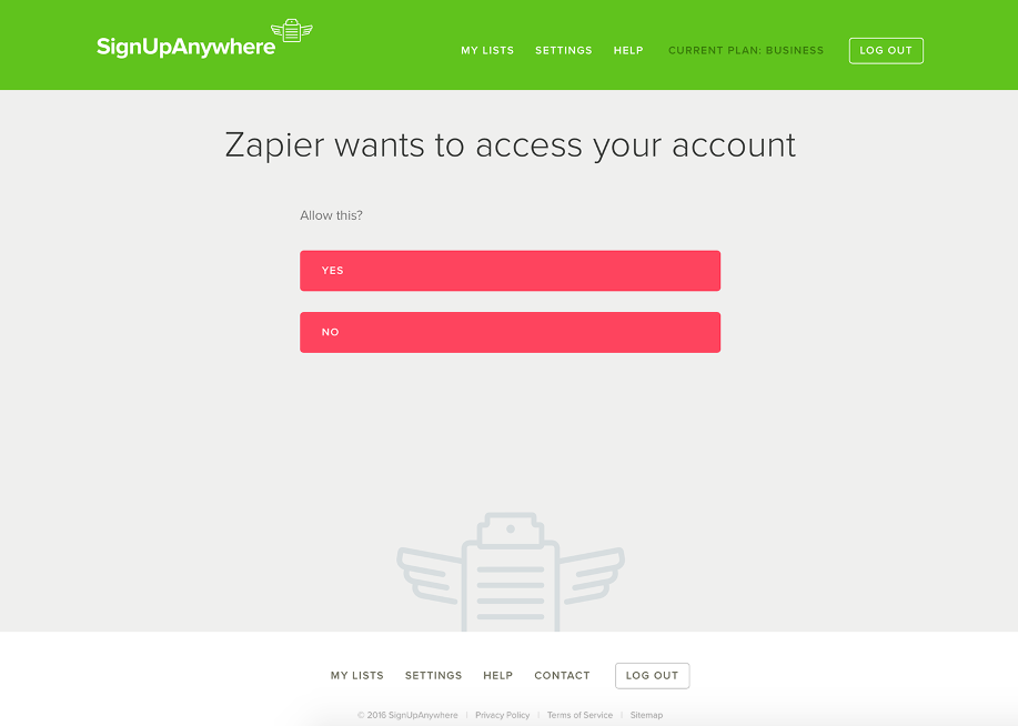 Authorize SignUpAnywhere on Zapier