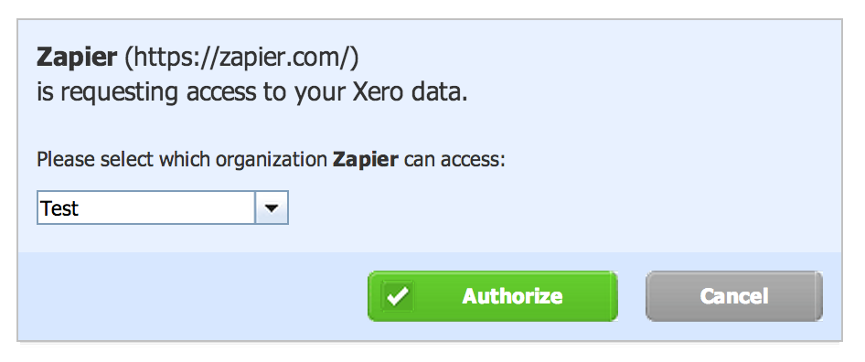 Click authorize for the Xero company you'd like to connect.
