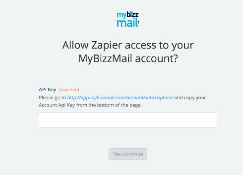 MyBizzMail API Key