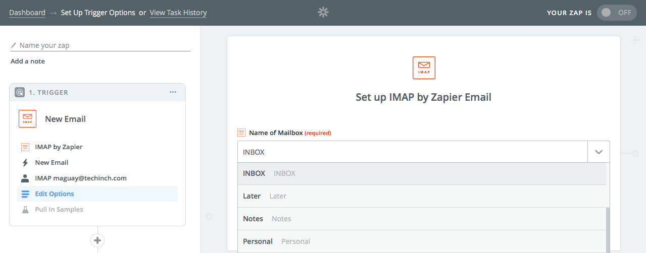 Pick mailbox in Zapier