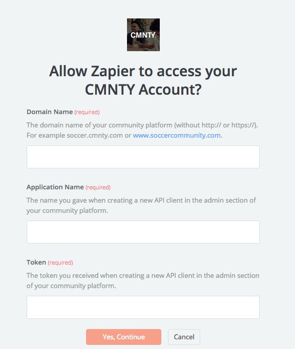 CMNTY username and password