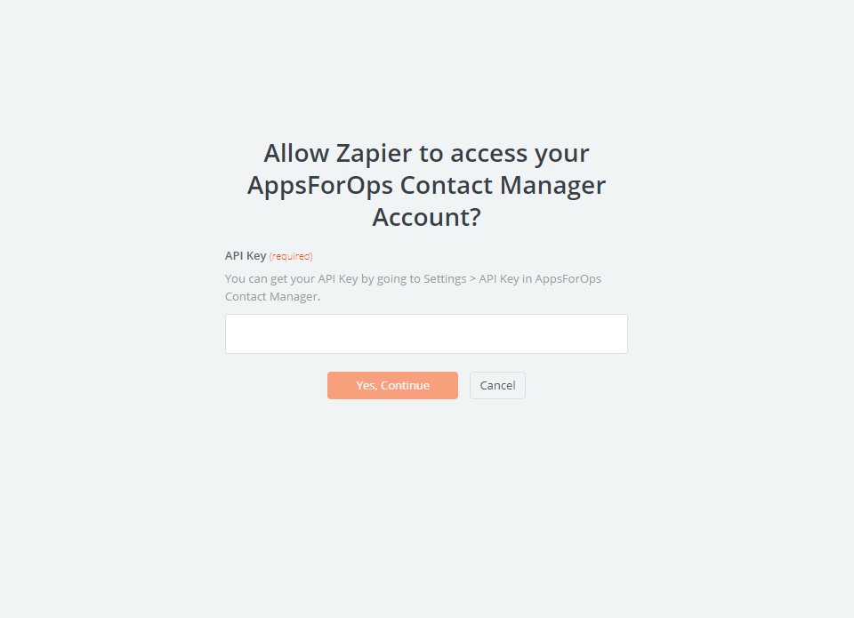 AppsForOps Contact Manager API Key