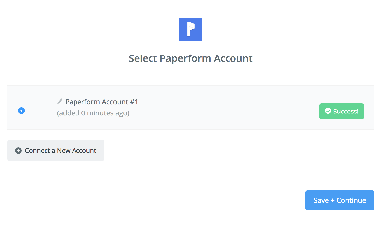 Paperform connection successfull