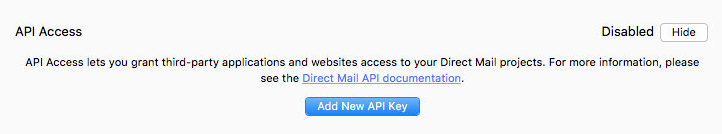New API key in Direct Mail