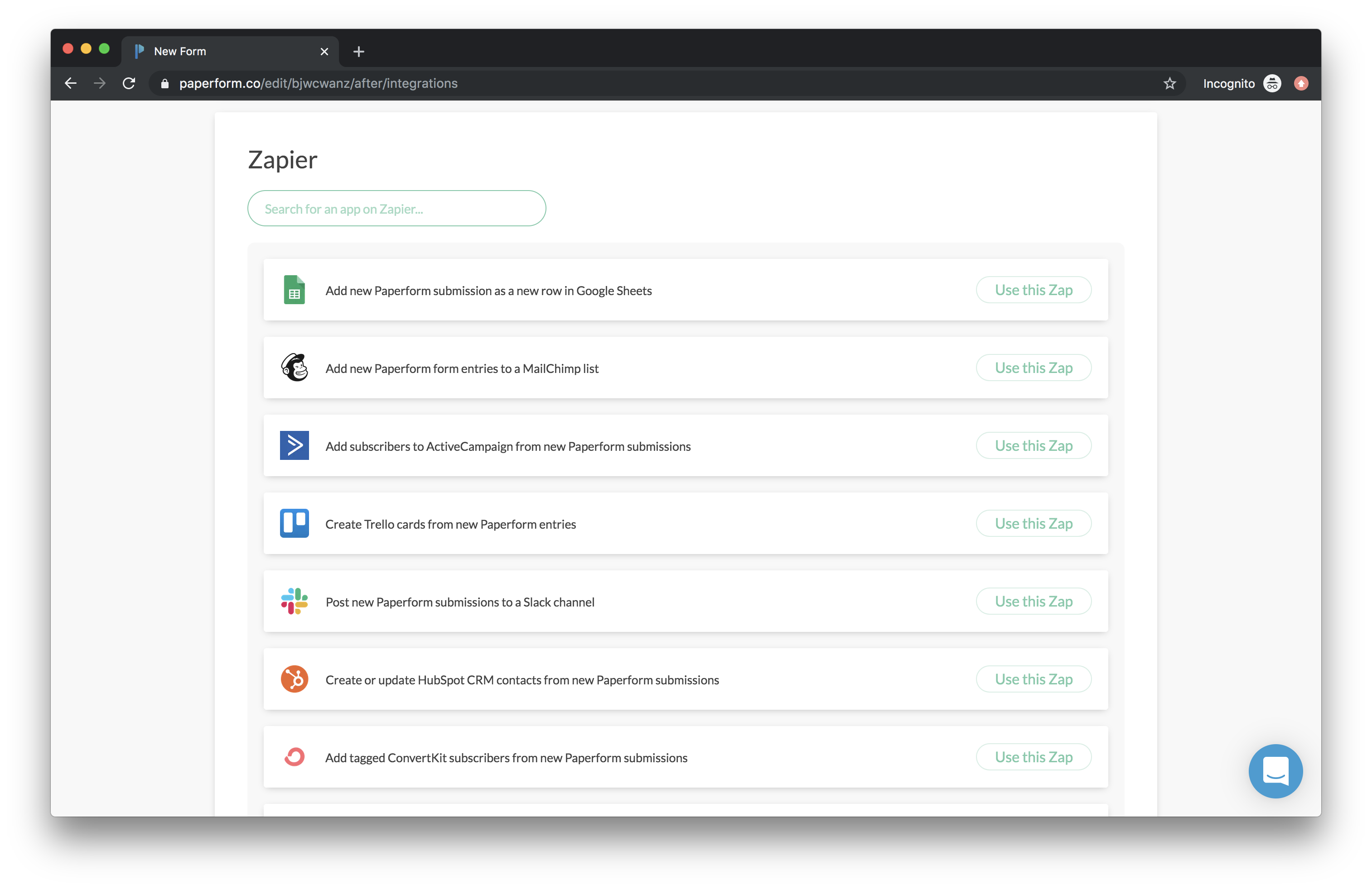 Paperform's integration library powered by Zapier