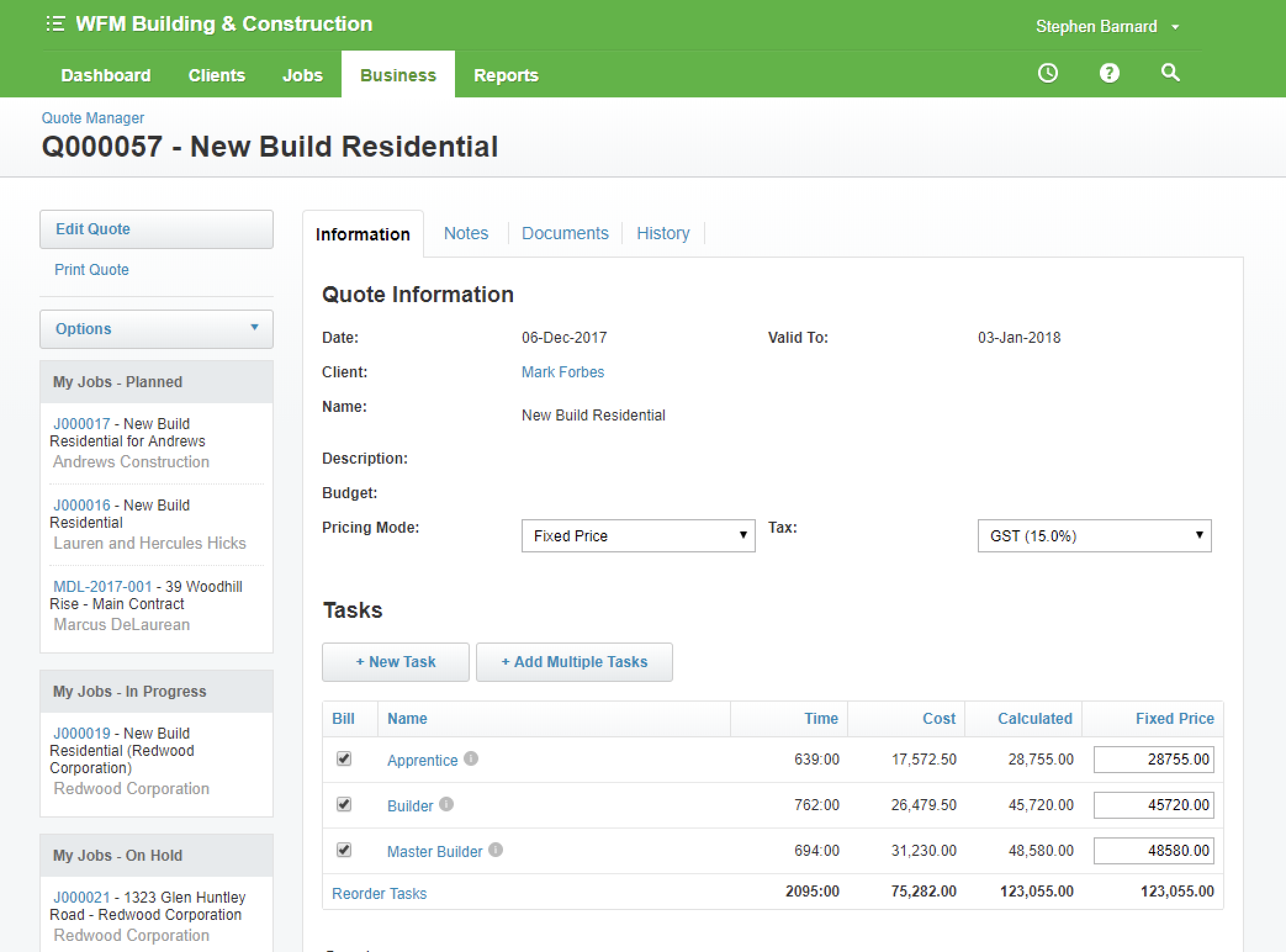 WorkflowMax screenshot