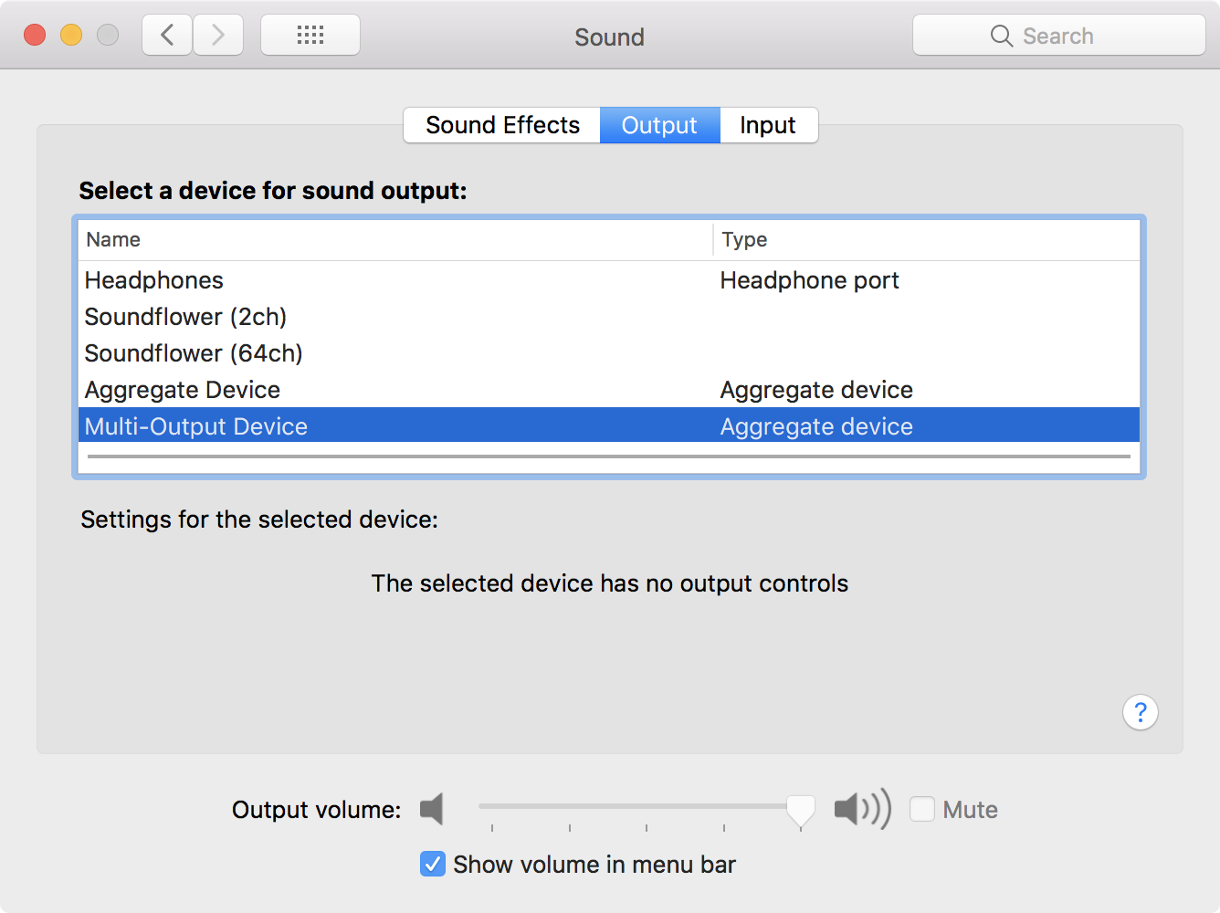 Mac sound options