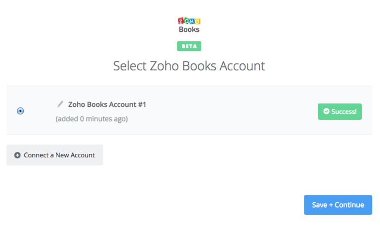 Zoho Books connection successfull