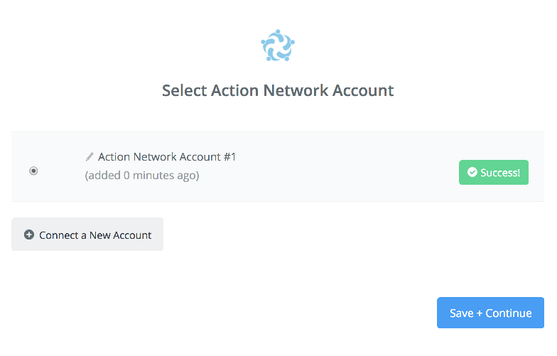 Action Network connection successfull