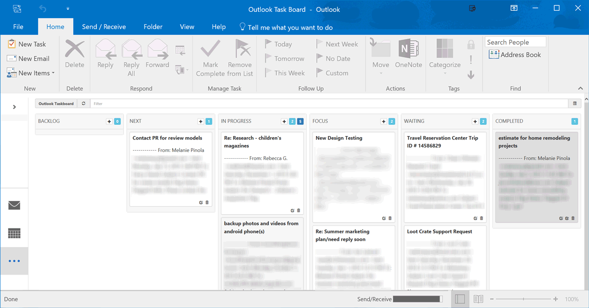 Taskboard for Outlook screenshot