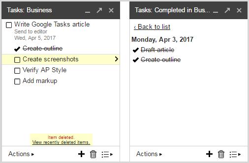 deleted tasks in Google Tasks