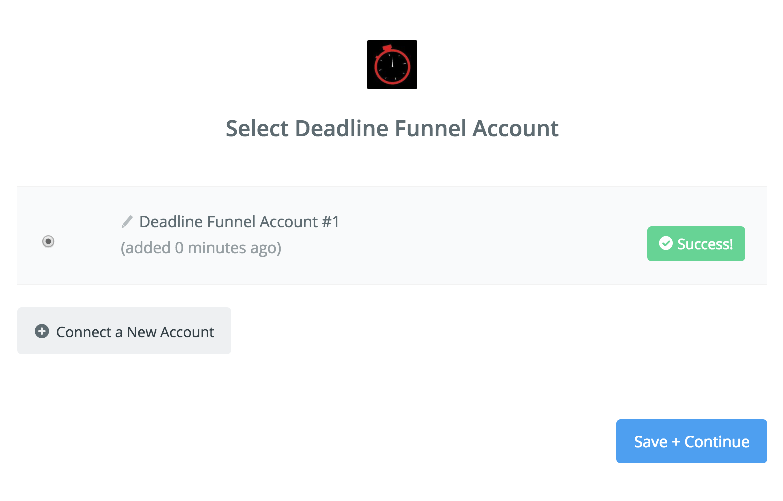 Deadline Funnel connection successfull