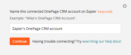 Name the OnePage CRM account inside Zapier