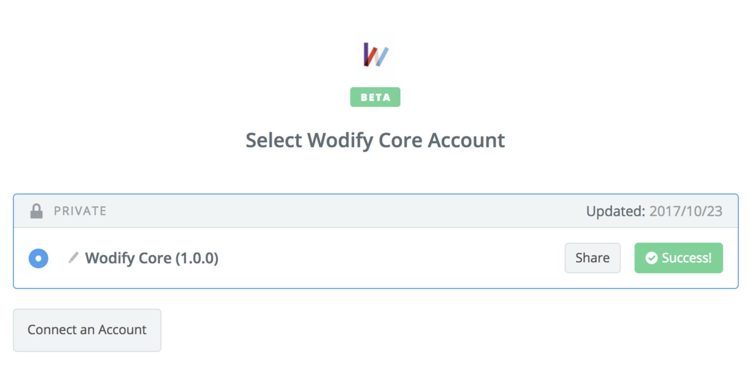 Wodify Core connection successful