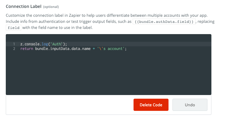 Zapier connection label with code