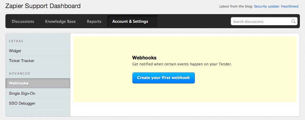 Tender Support Add Webhook
