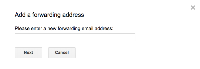 Enter forwarding address