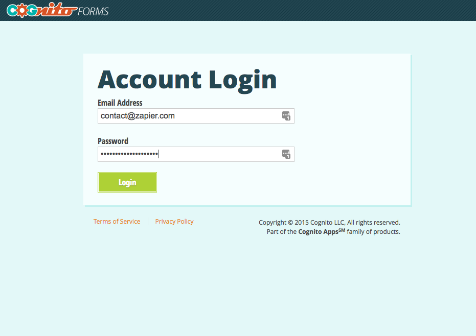 Log in with your Cognito Forms account