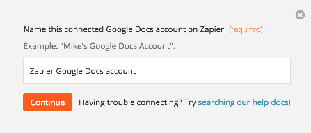Name the Google Docs account inside Zapier