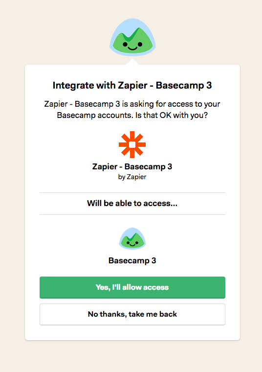 Basecamp 3 username and password