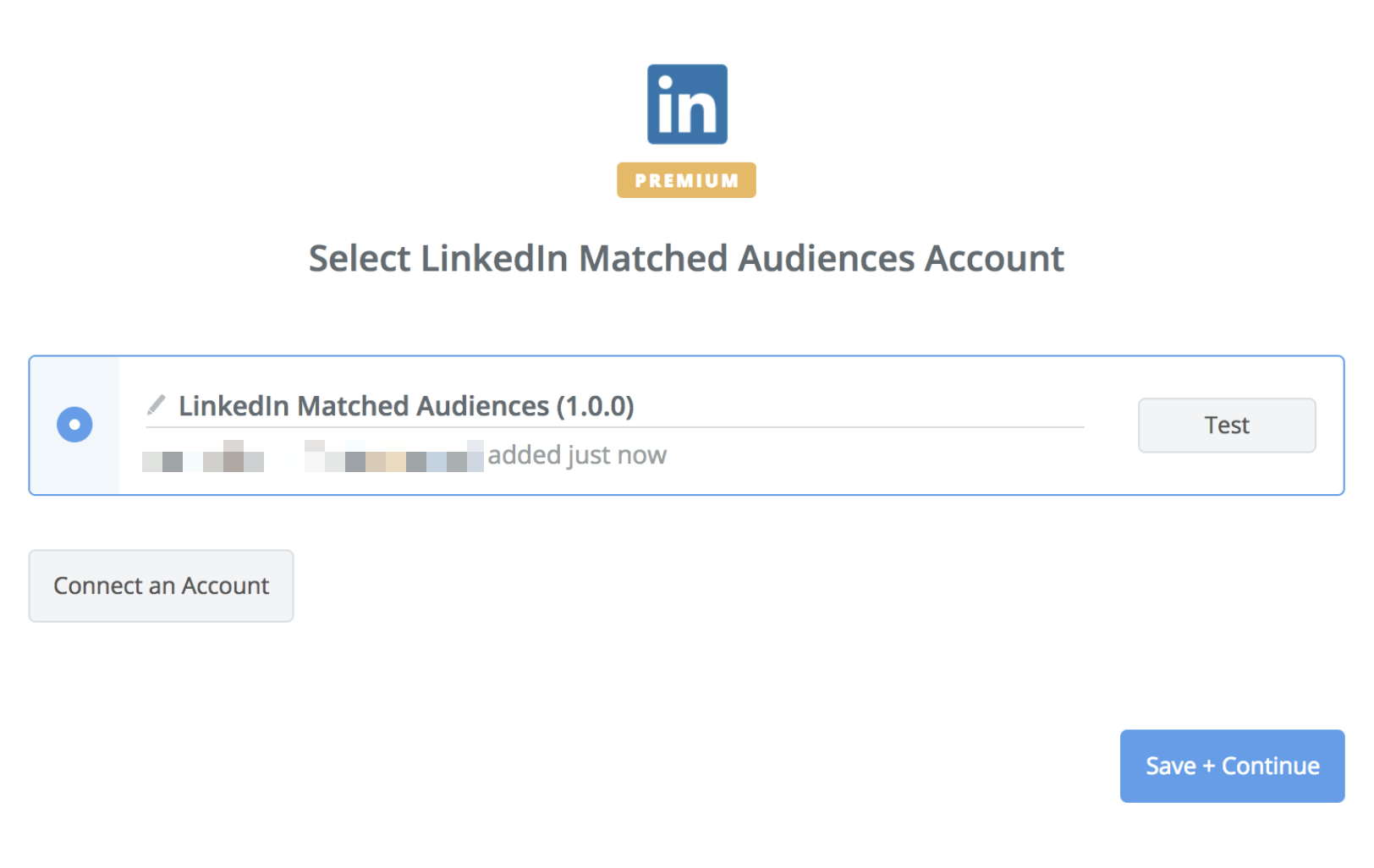 LinkedIn Matched Audiences connection successfull