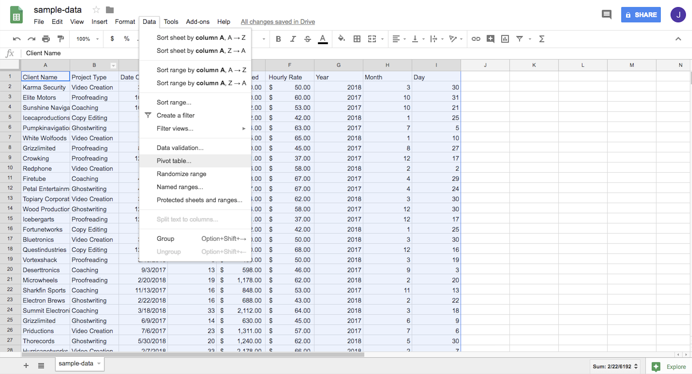 Highlighting all cells in the spreadsheet and selecting Data, then Pivot table