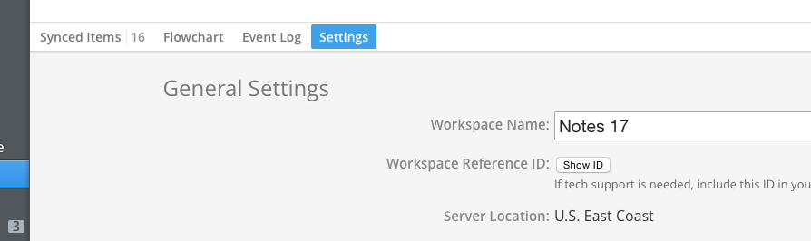 Locate the Reference ID of an existing workspace
