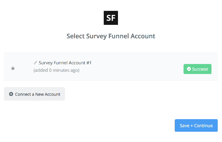 Survey Funnel' connection successfull