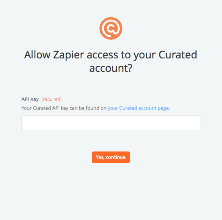 API Key in Curated account