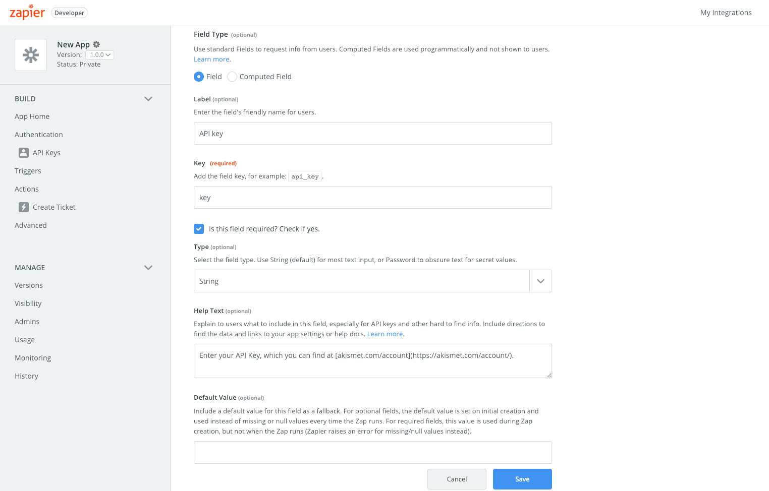 API Key Auth | Zapier Platform UI Documentation