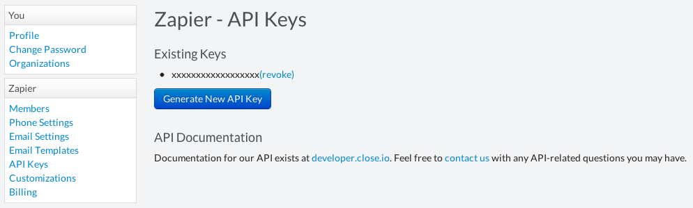 Retrieve your Close.io API key