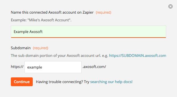 Axosoft account URL