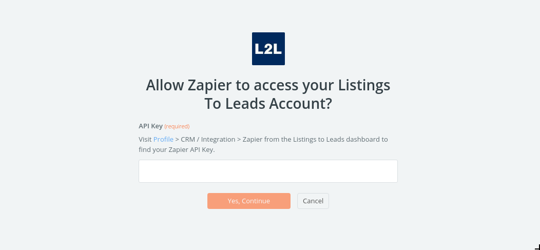 Listings To Leads API Key