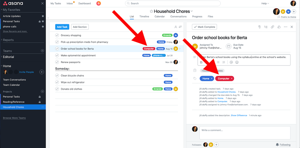 How to GTD With Asana - tags