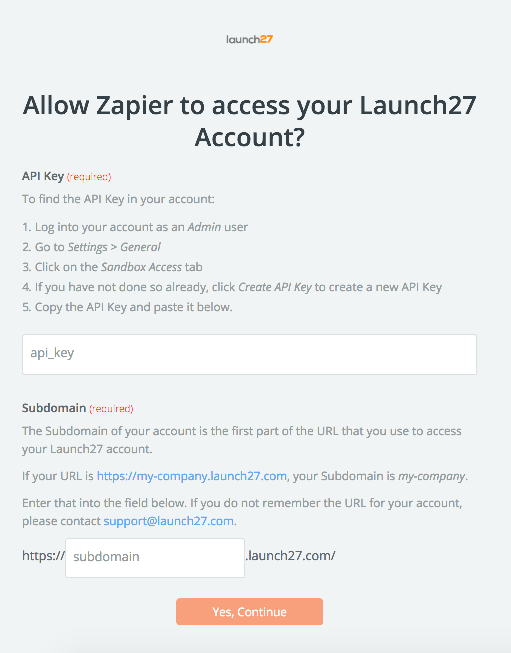 Launch27 API Key